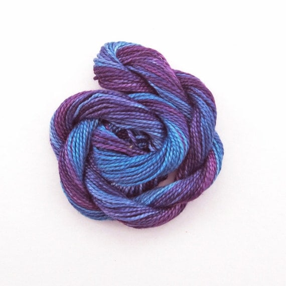 Hand dyed cotton perle 5 embroidery thread, 20m skein -  purple, blue, periwinkle