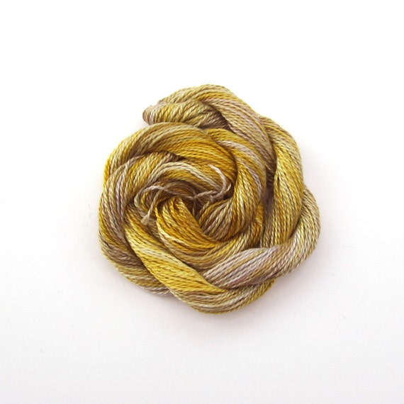 Hand dyed cotton perle 8 embroidery yarn, 30m skein - yellow, sand, beige, gray, stone