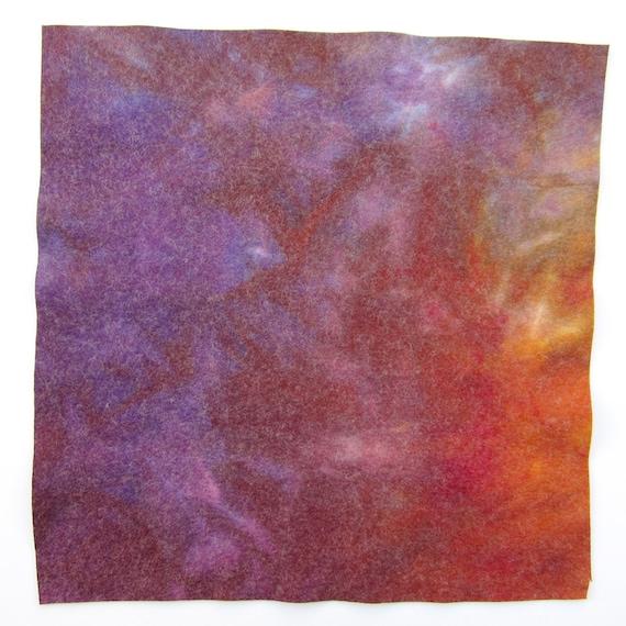 Hand dyed viscose and wool felt - purple, mauve, terracotta, dark red, dark orange