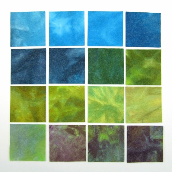 Hand dyed wool viscose felt - 16 x 4 inch squares in sky blue, dark blue, forest green, olive, light green, violet, purple