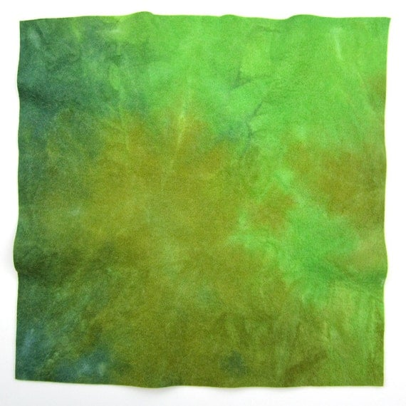 Hand dyed viscose wool felt - olive green, bright green, dark green, lime