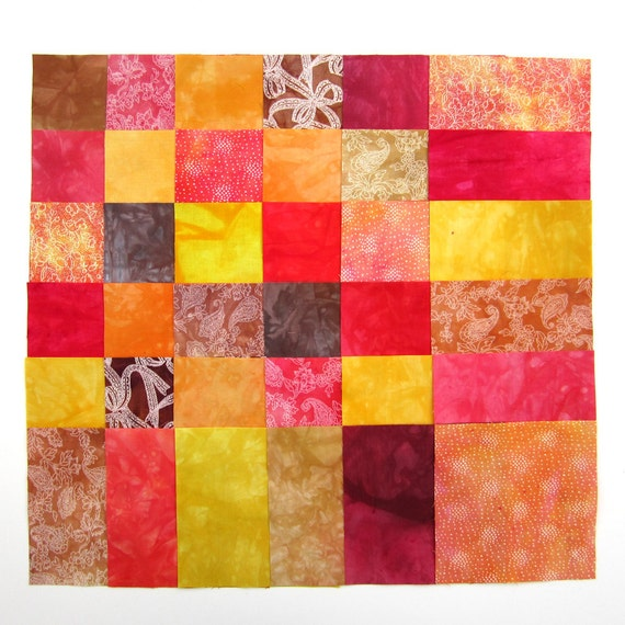 Fabric charm pack - Hand dyed 5 inch fabric squares - red, dark pink, brown, orange, yellow