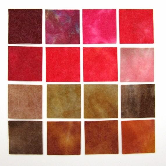 Hand dyed wool viscose felt - 16 x 3 inch squares - red, pink, maroon, beige, light brown, dark brown, tan