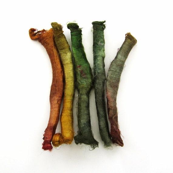 Silk carrier rods - hand dyed - tan, golden brown, dark yellow, olive green, moss, khaki, forest