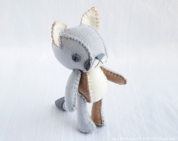 Gray Fox Plush Art Doll, Silky