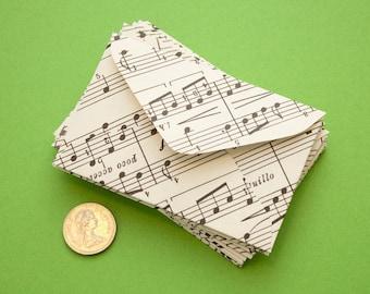 Set of 10 miniature music envelopes