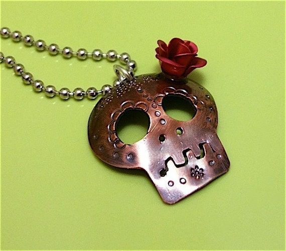 Coqueta No. 2 Copper Day of the Dead Skull with Red Rose Flower