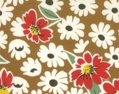SALE---1 yard---Flower in Brown, The Happy Campers Collection, Moda Fabrics