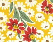 SALE---1 yard---Flower in Yellow, The Happy Campers Collection, Moda Fabrics