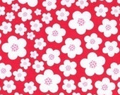 SALE---1 yard---Blossoms in Red, Flora and Fauna, Patty Young, Michael Miller Fabrics
