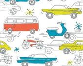 1 yard---Cars in Carrot, Circa 50, 100 percent cotton organic fabric, Monaluna for Birch Fabrics