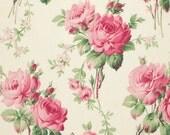 SALE---Barefoot Roses Legacy---Stemmed Floral in White---1 yard--Tanya Whelan for Free Spirit Fabrics