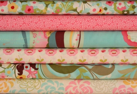 fabric bundle--6 one-half yard pieces (3 yards total) from the Hunky Dory Collection, Chez Moi, Moda Fabrics