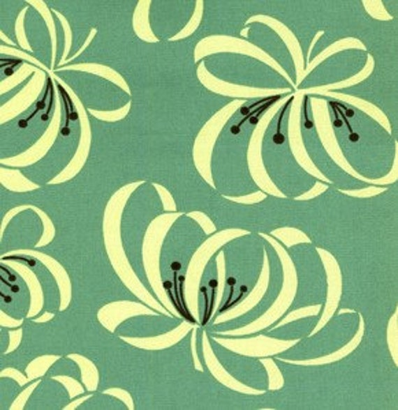 SALE---1 yard lightweight canvas---Ribbon Floral in Porch, County Fair, Denyse Schmidt, Free Spirit