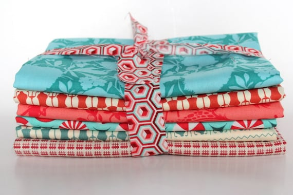 1/2 yard color bundle--turquoise and red--6 pieces, 3 yards total