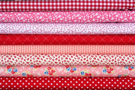 fat quarter bundle (cherry red and pink)--misc. designers--8 pieces--2 yards total