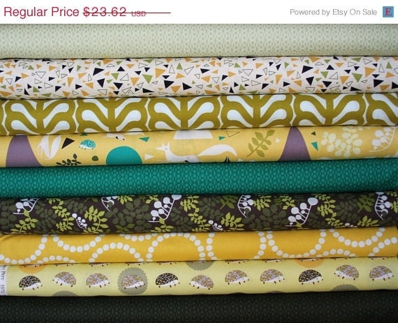 sale of the week Outfoxed fat-quarter bundle (outwitted colorway)--9 pieces (2-1/4 yards total), Lizzy House, Andover Fabrics