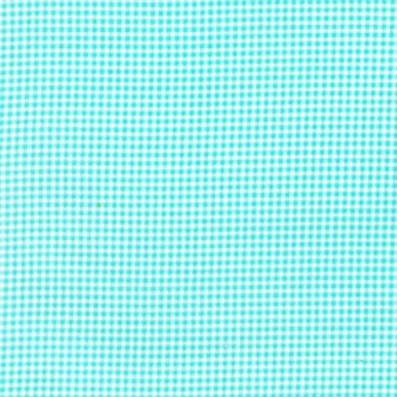 1 yard---Tiny Gingham in Aqua,  Mini Mike's, Michael Miller Fabrics