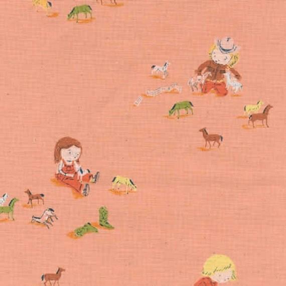 1 yard-Girls and Horses in Peach,  Far Far Away 3, Heather Ross, Kokka Fabrics