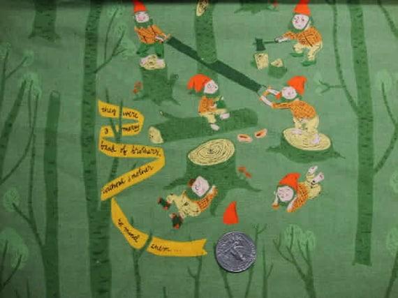 1 yard-Snow White in Green,  Far Far Away 3, Heather Ross, Kokka Fabrics