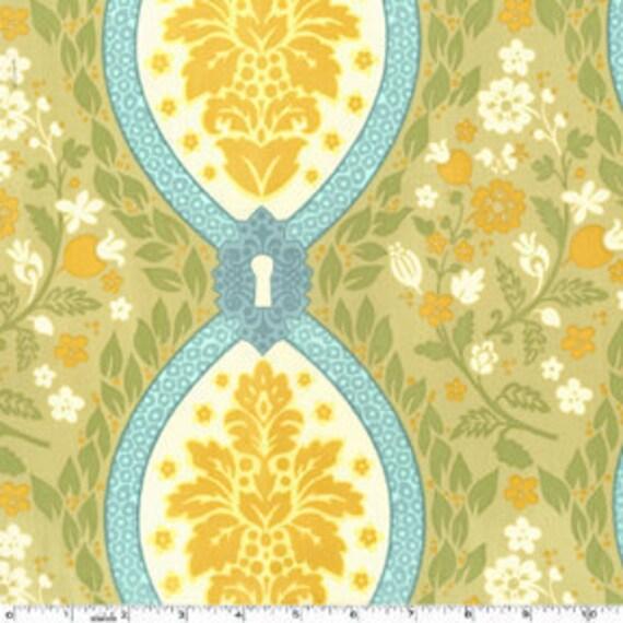 SALE---1 yard---Garden Damask in Sunset, Secret Garden, Sandi Henderson, Michael Miller Fabrics