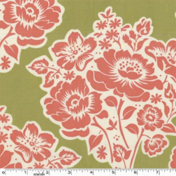 SALE---1 yard---Fresh Cut Flowers in Moss, Secret Garden, Sandi Henderson, Michael Miller Fabrics