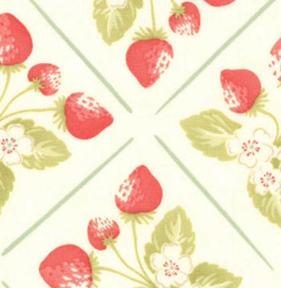 SALE--1 yard---Summer Picnic in Vanilla, Strawberry Fields, Fig Tree Quilts for Moda Fabrics