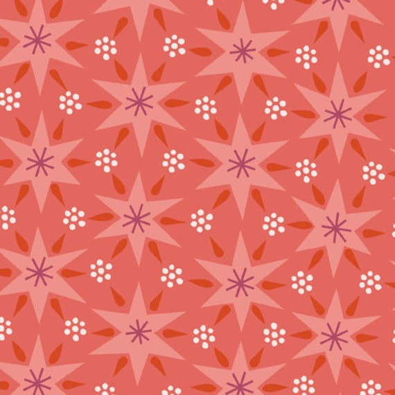 SALE---1 yard--Sheherazade in Jinnee Orange, 1001 Peeps, Lizzy House for Andover Fabrics