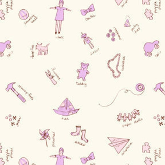 SALE--1 yard---Toy Room in Lilac,  Children at Play, Sarah Jane, Michael Miller Fabrics