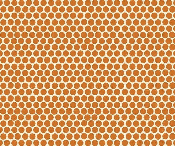 1 yard---Medium Dot in Rust, Beach Mod Circa 60, 100 percent cotton organic fabric, Monaluna for Birch Fabrics