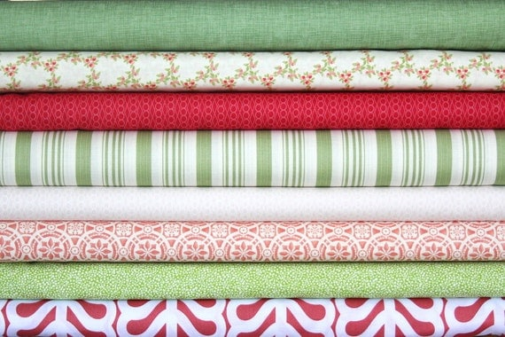 fat eighth bundle (a field of strawberries)--misc. designers--8 pieces--1 yard total