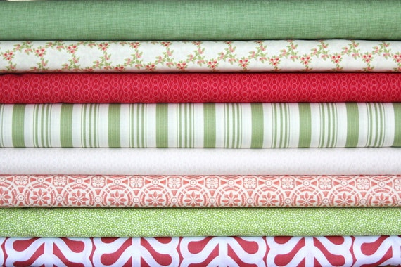 half yard bundle (a field of strawberries)--misc. designers--8 pieces--4 yards total