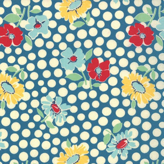 School Days---Recess in Textbook Blue---1 yard--American Jane for Moda Fabrics
