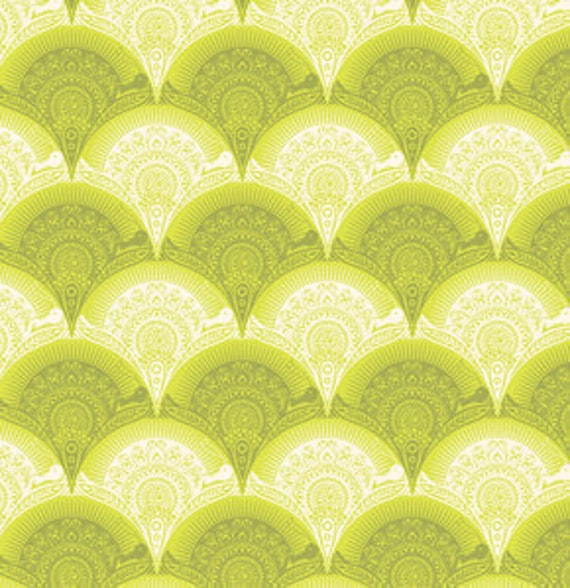 SALE--1 yard---Snail Scallop in Olive, Prince Charming, Tula Pink, Free Spirit Fabrics