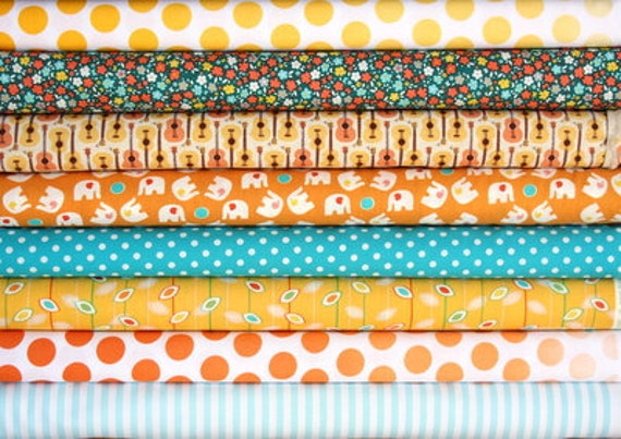 fat eighth bundle (afternoon at the beach)--misc. designers--8 pieces--1 yard total
