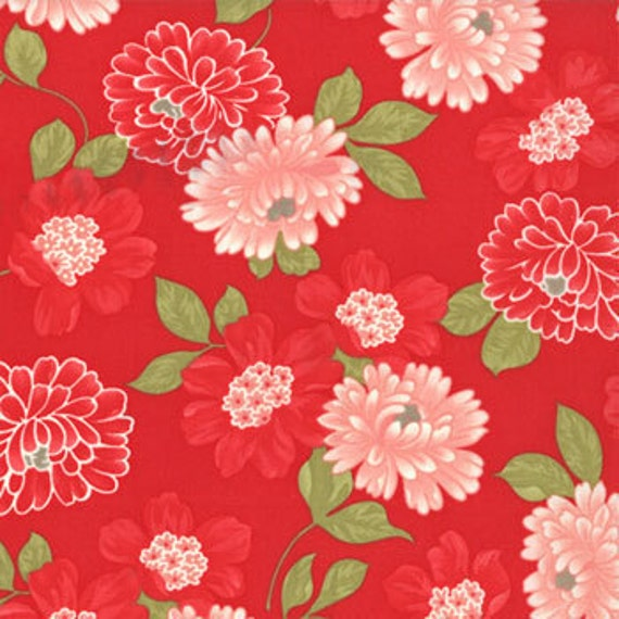 ON SALE---Vintage Modern---Cotton Blossom in Red--1 yard--Bonnie and Camille for Moda Fabrics