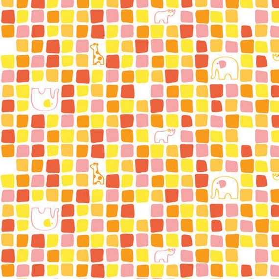 ON SALE---Savanna Bop---Animal Mosiac in Pink--1 yard--Thomas Knauer for Andover Fabrics