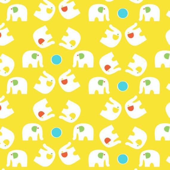 Savanna Bop---Elephants in Yellow--1 yard--Thomas Knauer for Andover Fabrics