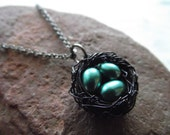 crows nest...glass pearls and oxidized wire nest necklace