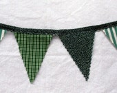 Primitive Greens Fabric Banner Bunting / Pennant / Flags