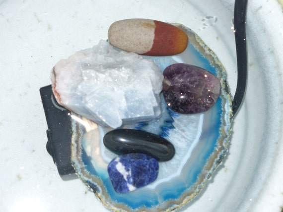 SALE Handthrown Pottery Tabletop Fountain with Healing Stones Reiki Blessed