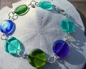 Beach Glass 3 Coins in the Fountain Czech Glass and Sterling Silver Bracelet