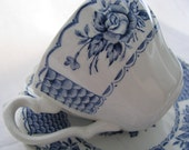 Vintage Blue and White Cottage Chic Cup and Saucer