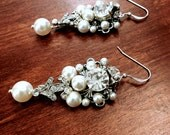 Ada, chandelier earrings in white and antique silver. (or choose your own color)