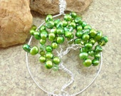 Green pearl Tree of Life crystal beaded sterling silver pendant