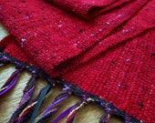 handwoven ruby red long wide scarf