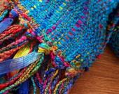 handwoven scarf long peacock blue
