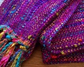 handwoven scarf in magenta