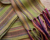 handwoven scarf, harvest olive very narrow