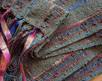 handwoven lightweight autumn olive scarf medium width